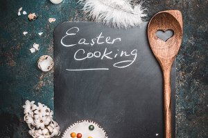 Rustic Easter cooking background