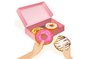Delicious donuts in cardboard box and human hands