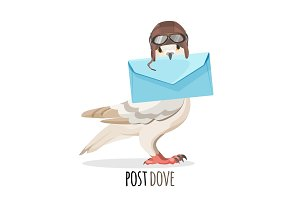Post dove in vintage helmet that holds envelope