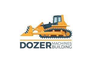 Mashines building promo poster with huge yellow dozer