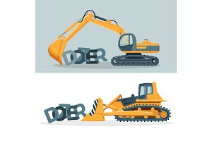 Dozers creative promotional posters with huge powerful machines