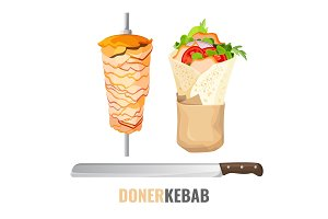 Doner kebab promo poster with meet on skewer and knife