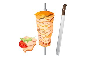 Meat on skewer and some slices with tomato