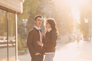 Loving couple teenagers