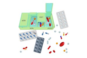 Medicaments and box with dosage for day set