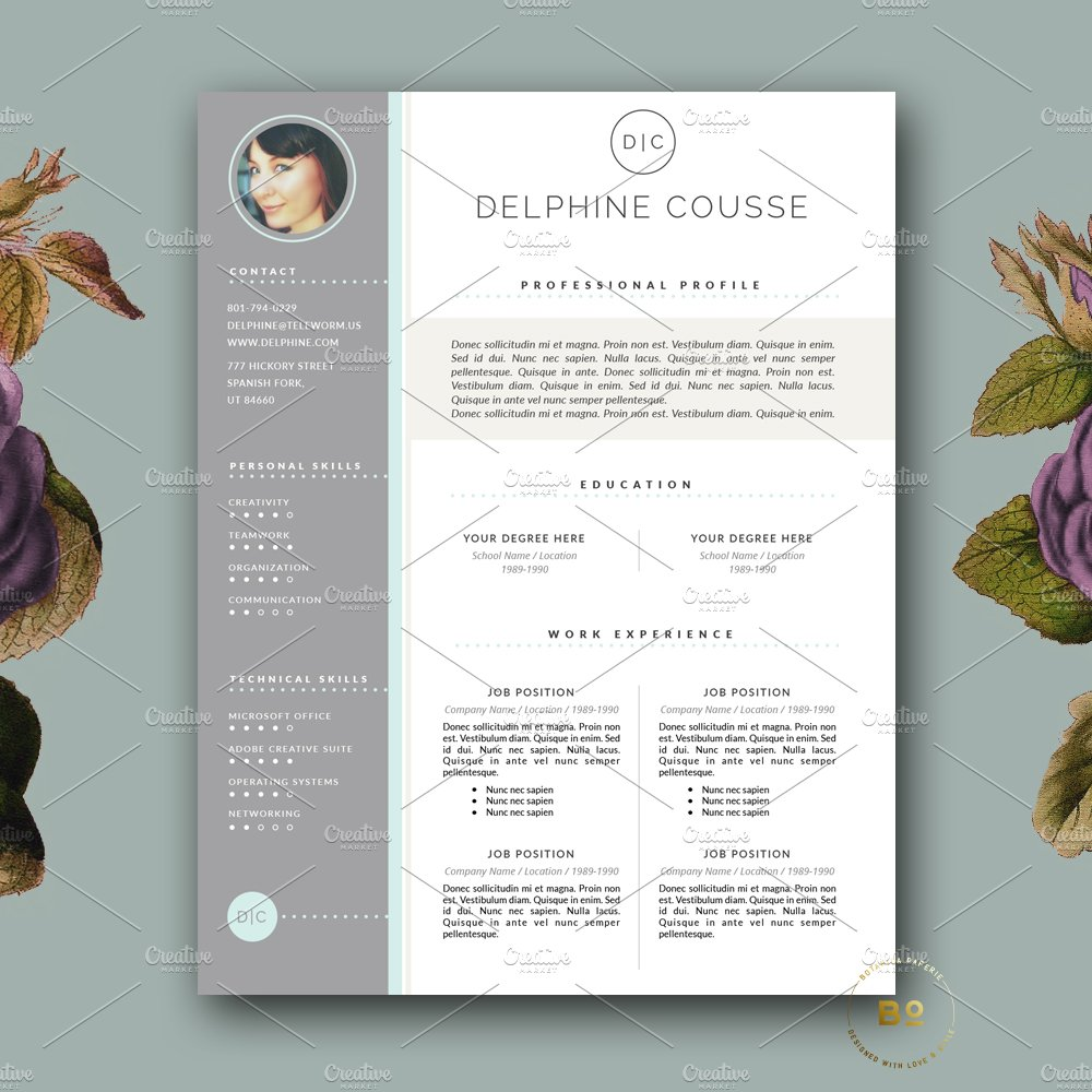 creative resume design for ms word resume templates creative market - Free Modern Resume Templates Word