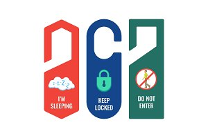 Door hangers with informative signs and pictures set
