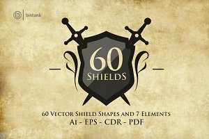 60 Set Shield Shapes And 7 Elements