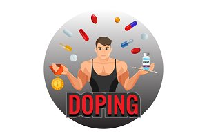 Doping drugs and fit sportsman inside circle emblem