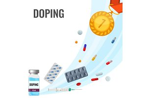 Doping drugs anti-agitative poster with pills and liquids