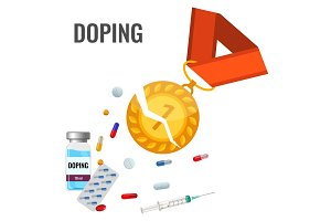 Doping drugs anti-agitative banner with broken gold metal