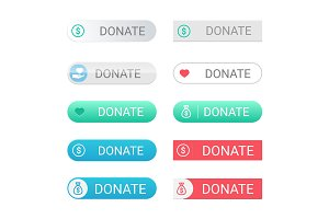 Donate buttons set for web sites with small icons