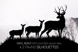 3 deers and 2 fawns silhouettes
