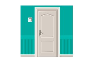 Wooden door in turquoise wall with light switch