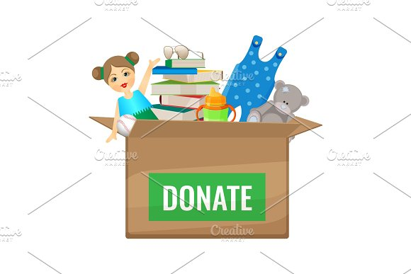 Box with toys and books to donate for children