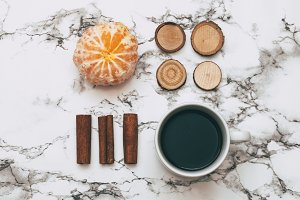 coffee, cinnamon sticks, tangerine