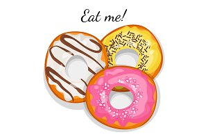 Eat me promotional poster with delicious sweet donuts