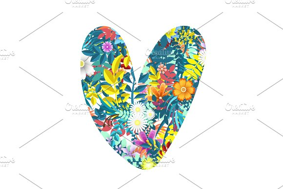 Heart of leaves and flowers vector illustration