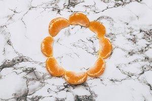 Frame made of tangerine slices