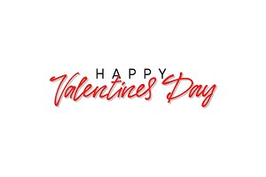 Happy Valentines day text typography, greeting card.