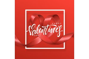 Happy Valentines Day lettering greeting card on red ribbon heart background.