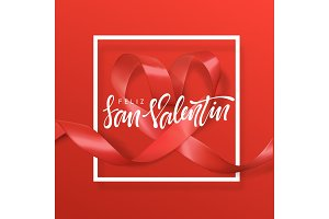 Feliz san Valentin lettering greeting card on red ribbon heart background.