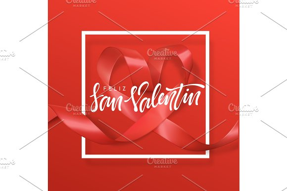 Feliz San Valentin Lettering Greeting Card On Red Ribbon Heart Background