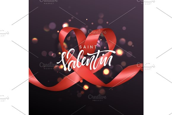 Saint Valentin lettering greeting card on red ribbon heart background.