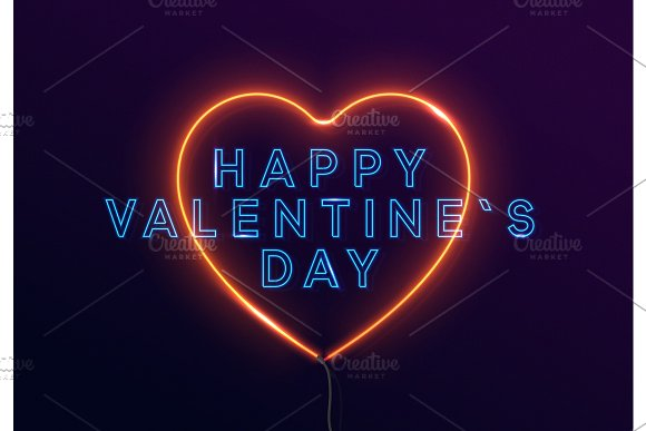 Happy Valentines Day On The Background Of Neon Light Red Heart