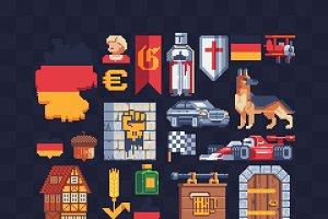 Germany pixel art icons