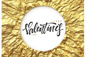 Valentines Day calligraphy on gold background of rumpled foil