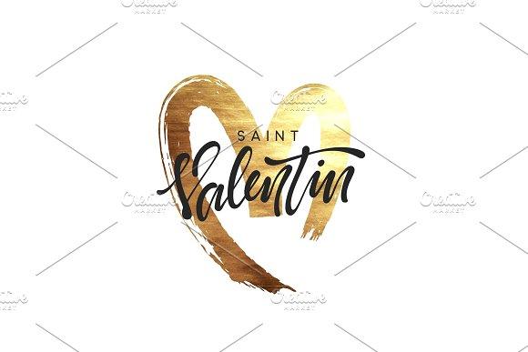 Saint Valentin Golden Heart Smear Paint Brush With Bright Sparkles
