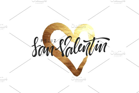 Spanish Feliz san Valentin. Golden heart, smear paint brush with bright sparkles.