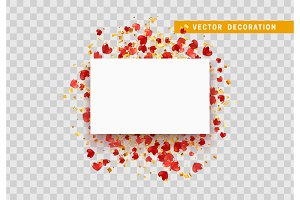 Red hearts with confetti gold, paper white frame isolated on transparent background