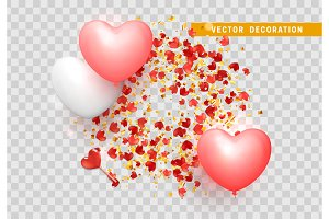 Red hearts with confetti gold isolated on transparent background.