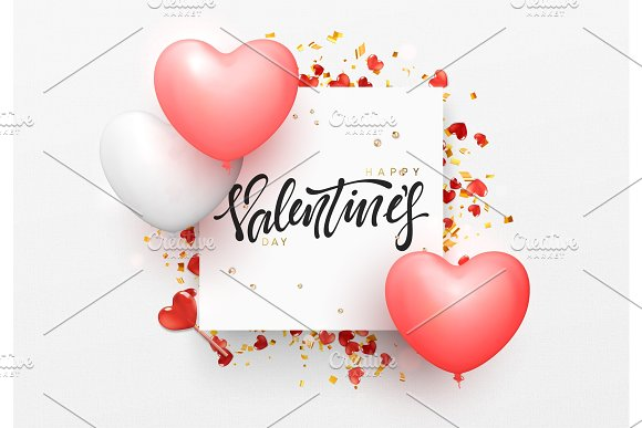 Valentines day background with balloons shape heart. in Objects