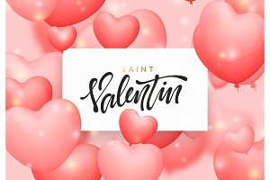 Saint valentin background with pink color balloons in the form of hearts