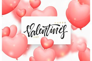 Happy valentines day background with pink color balloons in the form of hearts