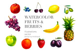 WATERCOLOR FRUITS & BERRIES