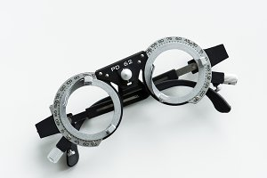 Closeup of eyeglasses measurement