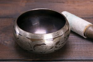 empty copper singing bowl