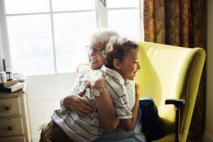 Grandma and grandson hugging