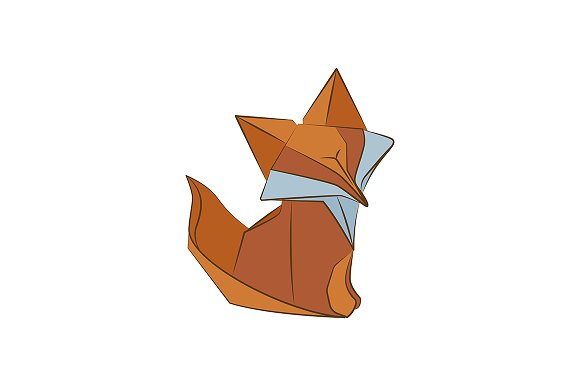 Origami fox vector illustration
