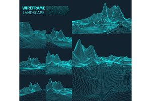Abstract vector wireframe landscape background. Cyberspace grid. 3d technology   illustration. Digital   for presentations .