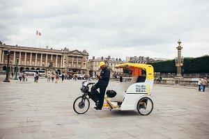 Velo taxi in Paris, France