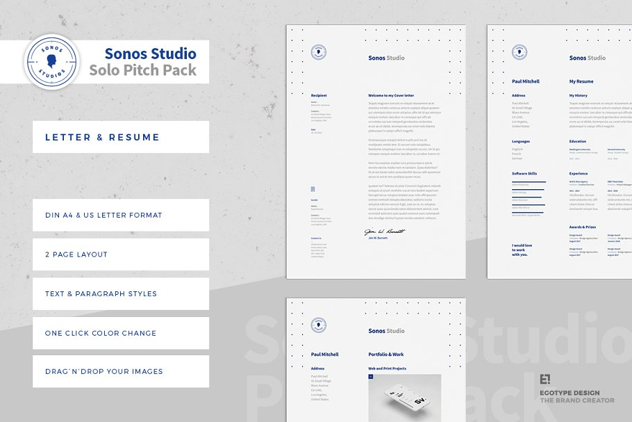 Sonos CV Resume and Letter ~ Resume Templates ~ Creative Market