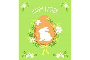 Cute rustic hand drawn Easter card with wreath of spring flowers, egg, bunny and hand written text Happy Easter