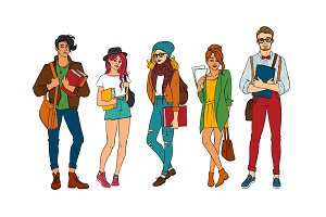 Vector sketch young teen students set