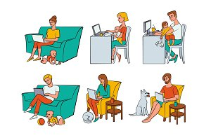 Vector flat people working from home, remote work