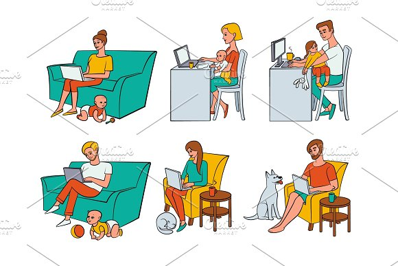 Vector Flat People Working From Home Remote Work
